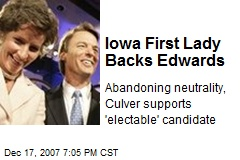 Iowa First Lady Backs Edwards