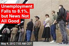 Unemployment Falls to 8.1%, but News Not All Good
