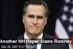 Another NH Paper Slams Romney