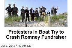 Protesters in Boat Try to Crash Romney Fundraiser