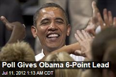 Poll Gives Obama 6-Point Lead