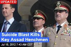 Suicide Blast Kills Syria Defense Minister
