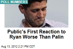 Public's First Reaction to Ryan Worse Than Palin