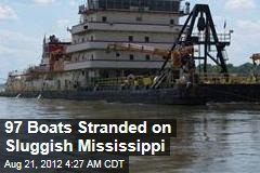 97 Boats Stranded on Dried Up Mississippi