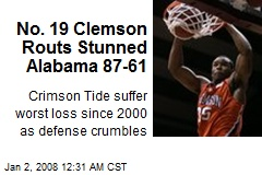 No. 19 Clemson Routs Stunned Alabama 87-61