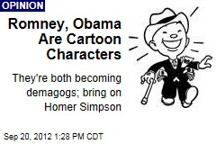 Romney, Obama Are Cartoon Characters