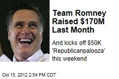 Team Romney Raised $170M Last Month