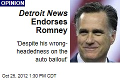 Detroit News Endorses Romney