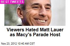 Viewers Hated Matt Lauer as Macy's Parade Host