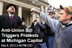 Anti-Union Bill Triggers Protests at Michigan Capitol
