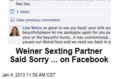 Weiner Sexting Partner Said Sorry ... on Facebook