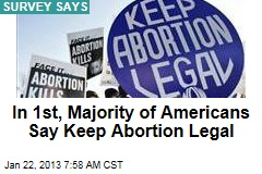 In 1st, Majority of Americans Say Keep Abortion Legal