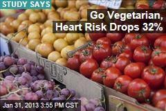 Go Vegetarian, Heart Risk Drops 32%