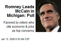 Romney Leads McCain in Michigan: Poll