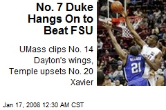 No. 7 Duke Hangs On to Beat FSU