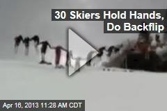 30 Skiers Hold Hands, Do Backflip