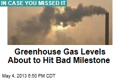 Greenhouse Gas Levels About to Hit Bad Milestone