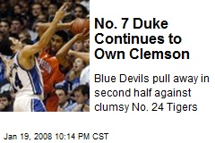No. 7 Duke Continues to Own Clemson