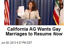 California AG Wants Gay Marriages to Resume Now