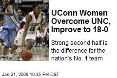 UConn Women Overcome UNC, Improve to 18-0