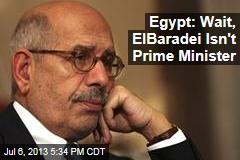 Egypt: Wait, ElBaradei isn't Prime Minister