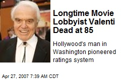 Longtime Movie Lobbyist Valenti Dead at 85