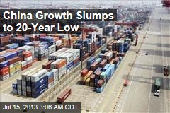 China Growth Slumps to 20-Year Low