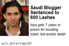Saudi Blogger Sentenced to 600 Lashes