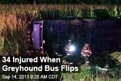 34 Injured When Greyhound Bus Flips