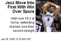 Jazz Move Into First With Win Over Spurs