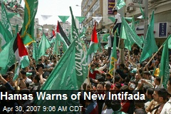 Hamas Warns of New Intifada
