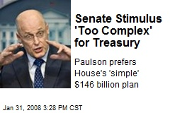 Senate Stimulus 'Too Complex' for Treasury