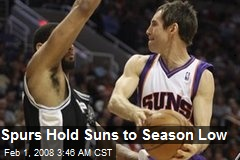 Spurs Hold Suns to Season Low