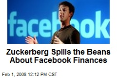 Zuckerberg Spills the Beans About Facebook Finances