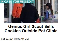 Genius Girl Scout Sells Cookies Outside Pot Clinic