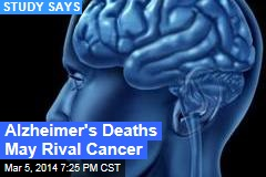 Alzheimer's Deaths May Rival Cancer