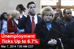 Unemployment Ticks Up to 6.7%