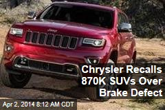 Chrysler Recalls 870K SUVs Over Brake Defect