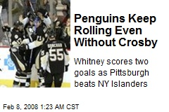 Penguins Keep Rolling Even Without Crosby