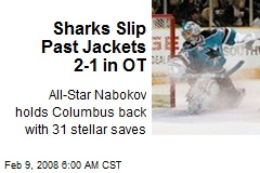 Sharks Slip Past Jackets 2-1 in OT