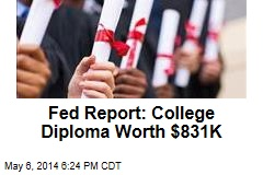 Fed Report: College Diploma Worth $831K