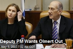 Deputy PM Wants Olmert Out