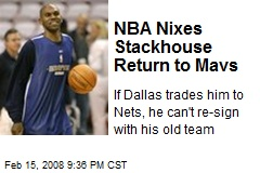 NBA Nixes Stackhouse Return to Mavs