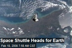 Space Shuttle Heads for Earth
