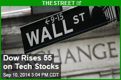 Dow Rises 55 on Tech Stocks