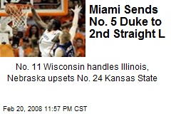 Miami Sends No. 5 Duke to 2nd Straight L