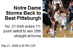 Notre Dame Storms Back to Beat Pittsburgh
