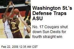 Washington St.'s Defense Traps ASU