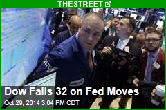 Dow Falls 32 on Fed Moves