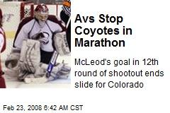 Avs Stop Coyotes in Marathon